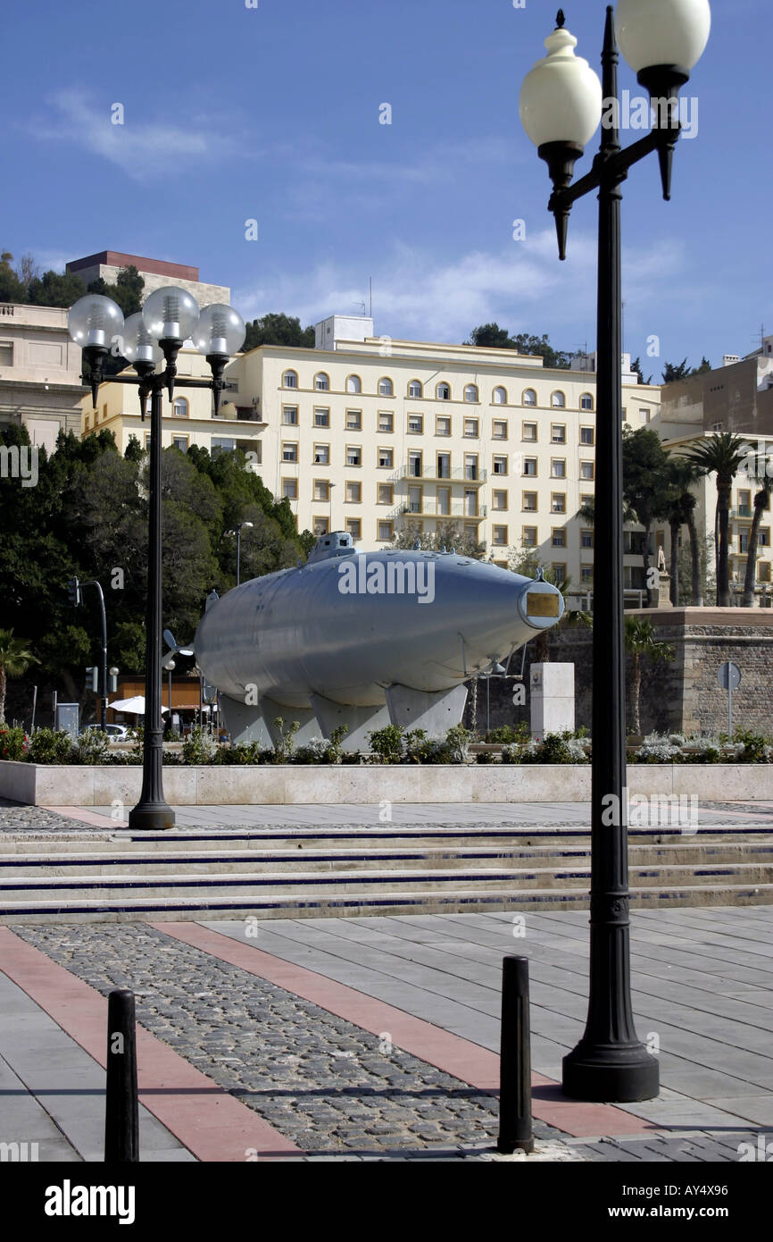 Isaac Perel designed electric submarine First launched 1888 Cartagena Murcia Spain - Stock Image