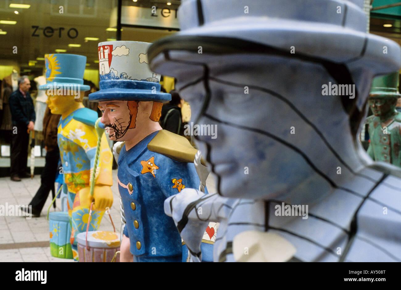 Hans Hummel figures, Hamburg, Germany - Stock Image