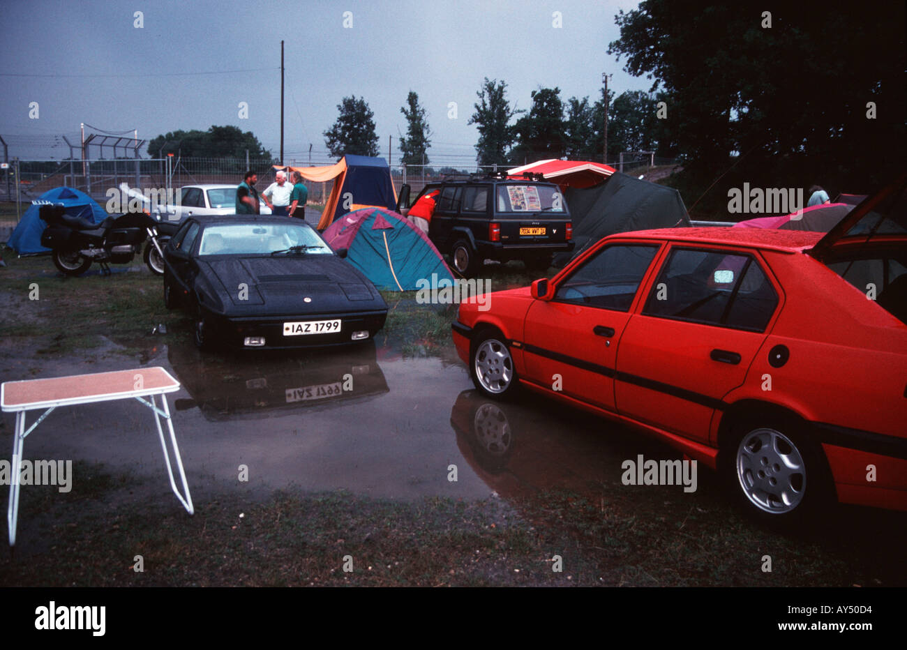 Flooded campsite after a rain storm at the 1998 Le Mans 24 hour sports car race - Stock Image