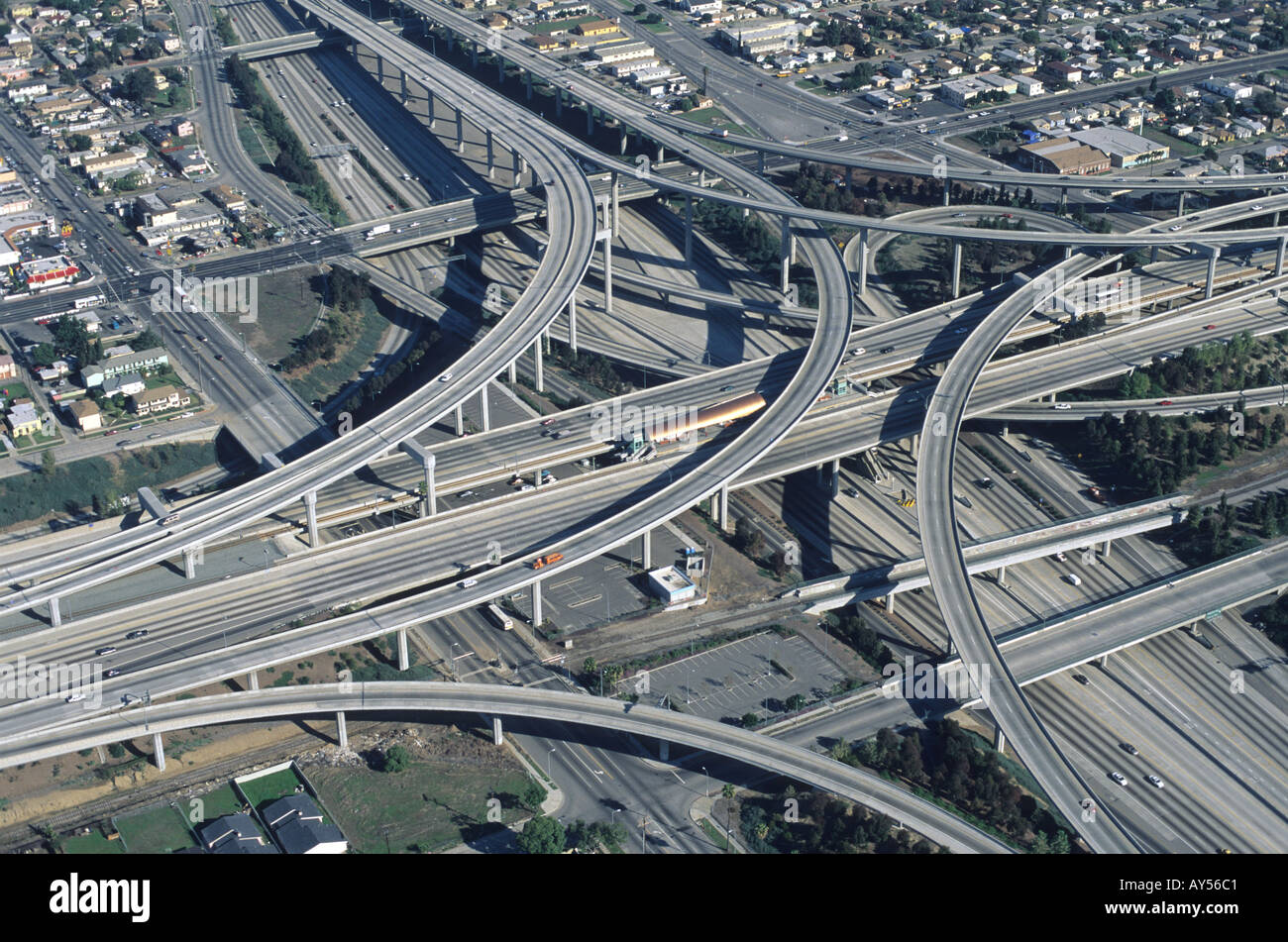 105 110 freeway interchange in Los Angeles California Stock