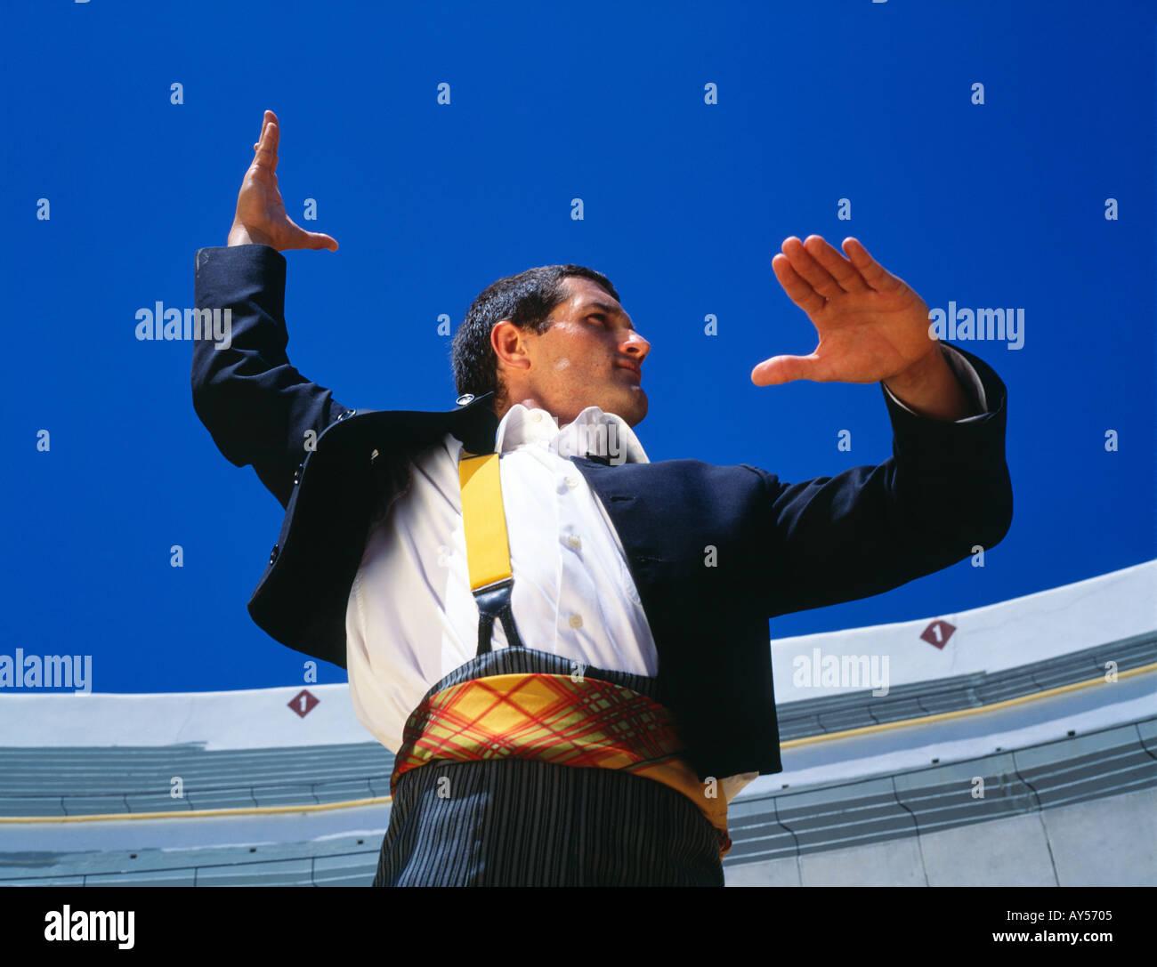 Male Flamenco dancer in Spainish Bullring Andalucia Spain - Stock Image