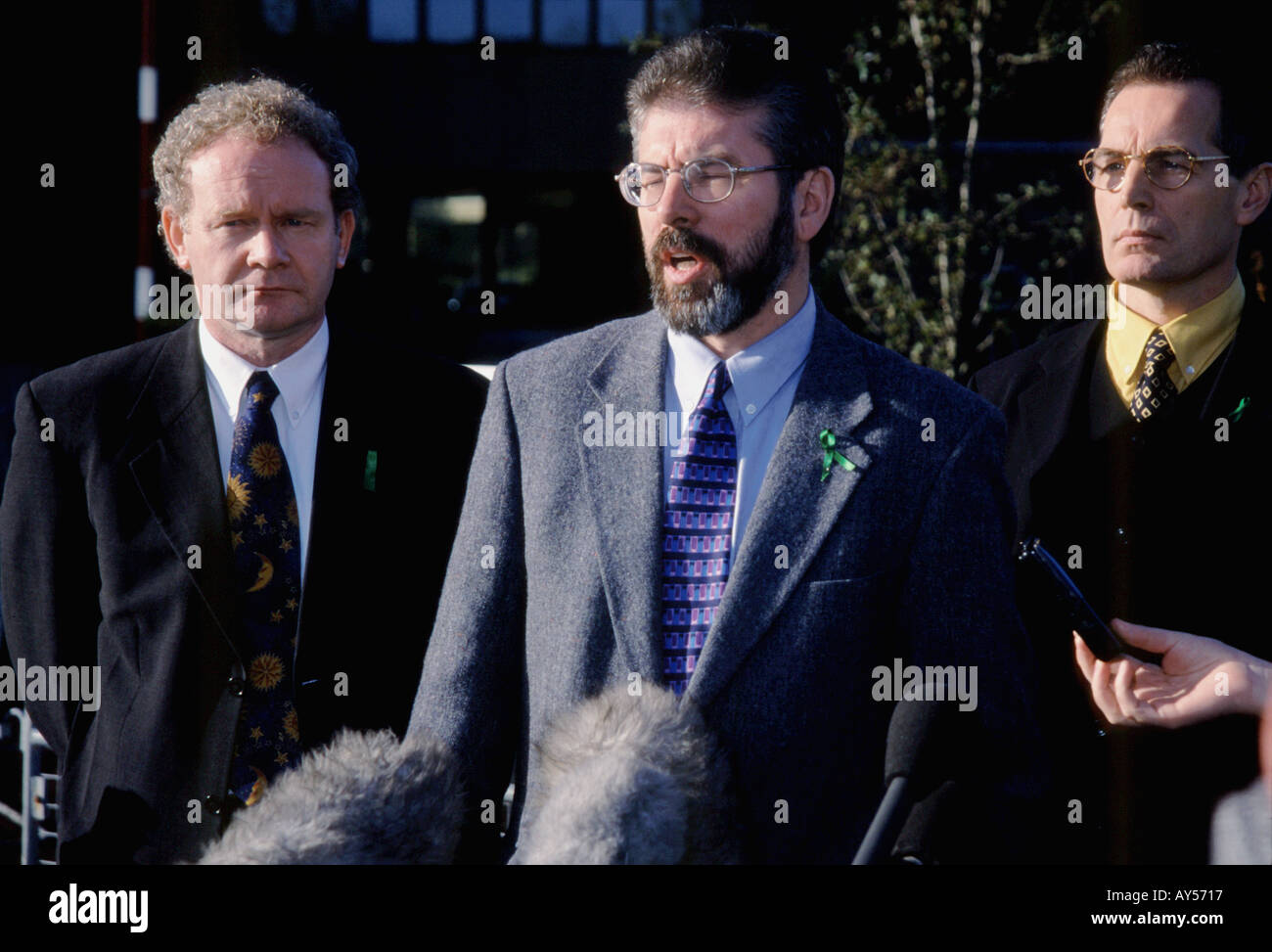 Gerry Adams, Martin mc guinness ,Gerry Kelly during the press conferance - Stock Image