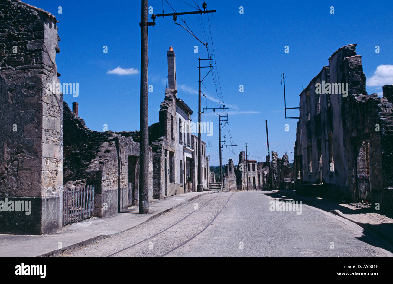 The preserved ruins of Oradour sur Glane where on 10 June 1944 soldiers of the SS Das Reich Division massacred 642 people - Stock Image