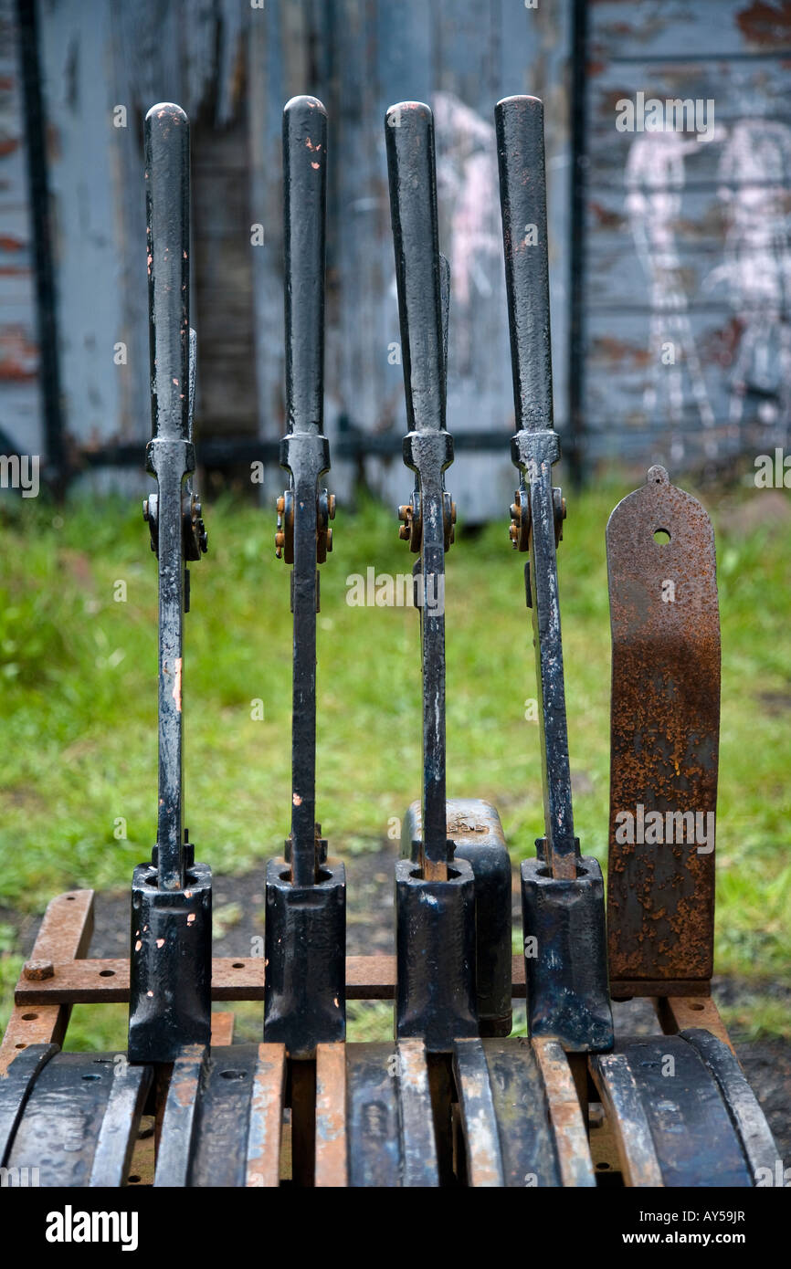 Points Levers Tanfield Preserved Coal Board Railway County Durham North East England - Stock Image