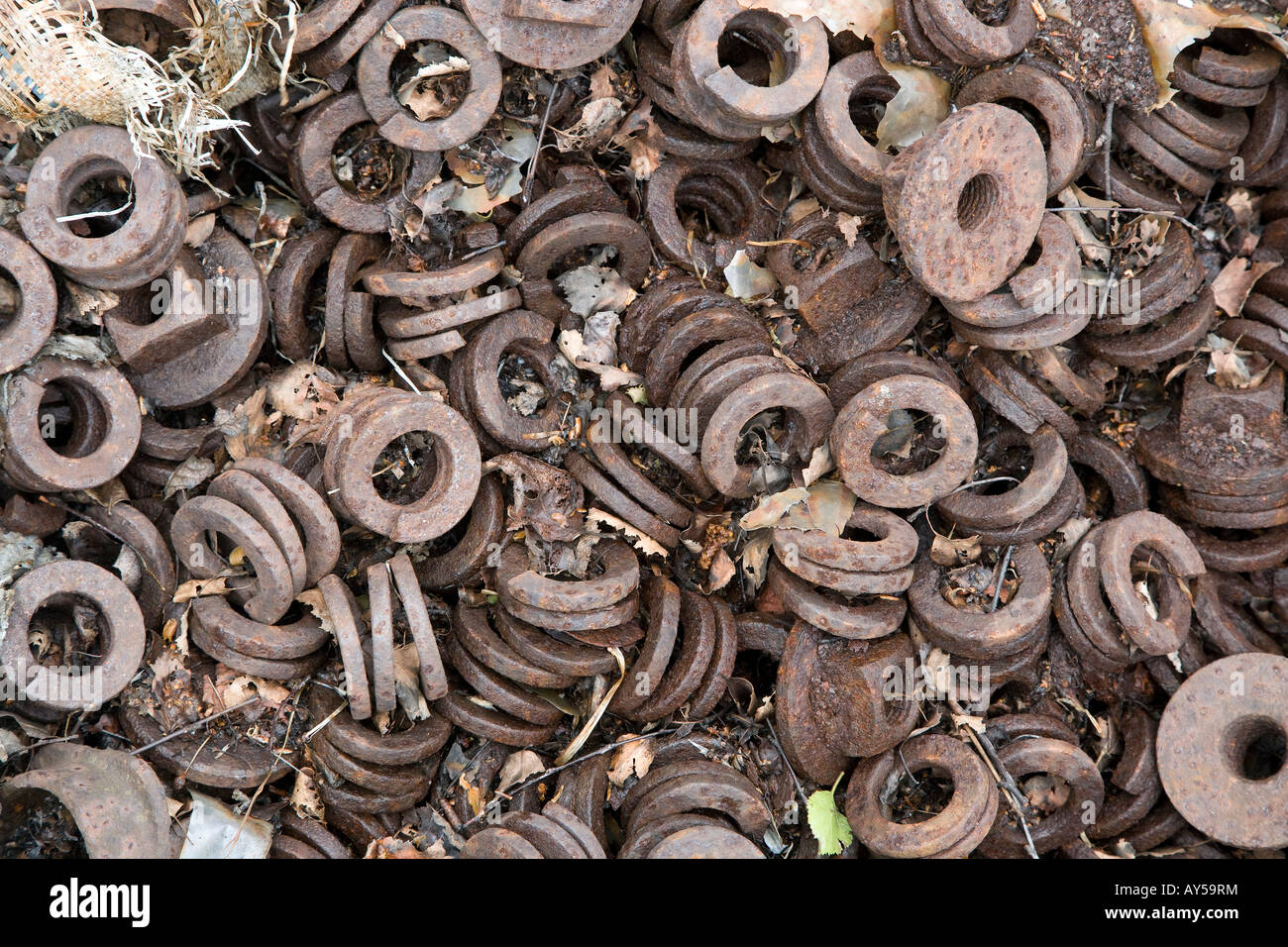 Heap old washers Tanfield Preserved Coal Board Railway County Durham North East England - Stock Image