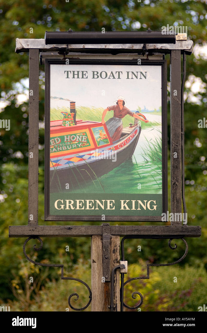 Doug Blane The Boat Inn Green Kning Public house sign near Banbury Oxford Canal Cylgate HoneStock Photo