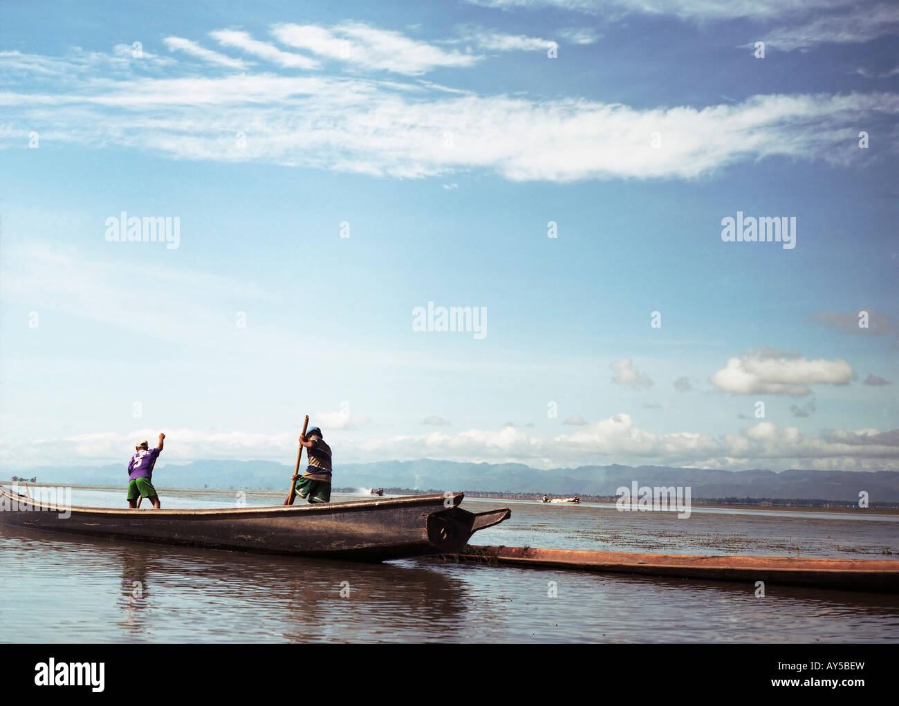 Fisher men on Inle lake - Stock Image