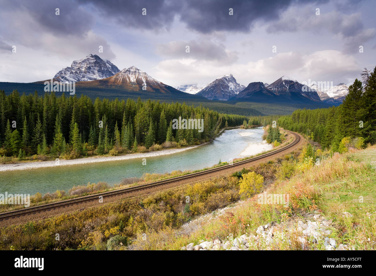 View of the Rocky mountains from Morant s Curve on the CPR line along the Bow River near Lake Louise in Banff National - Stock Image
