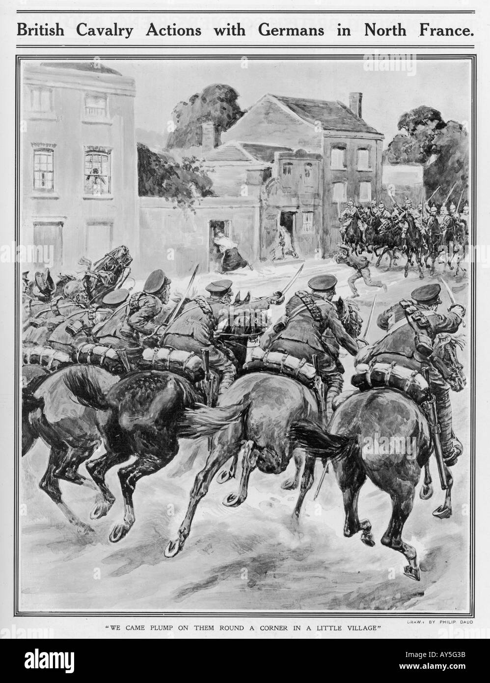 Wwi 1914 Cavalry Fight - Stock Image
