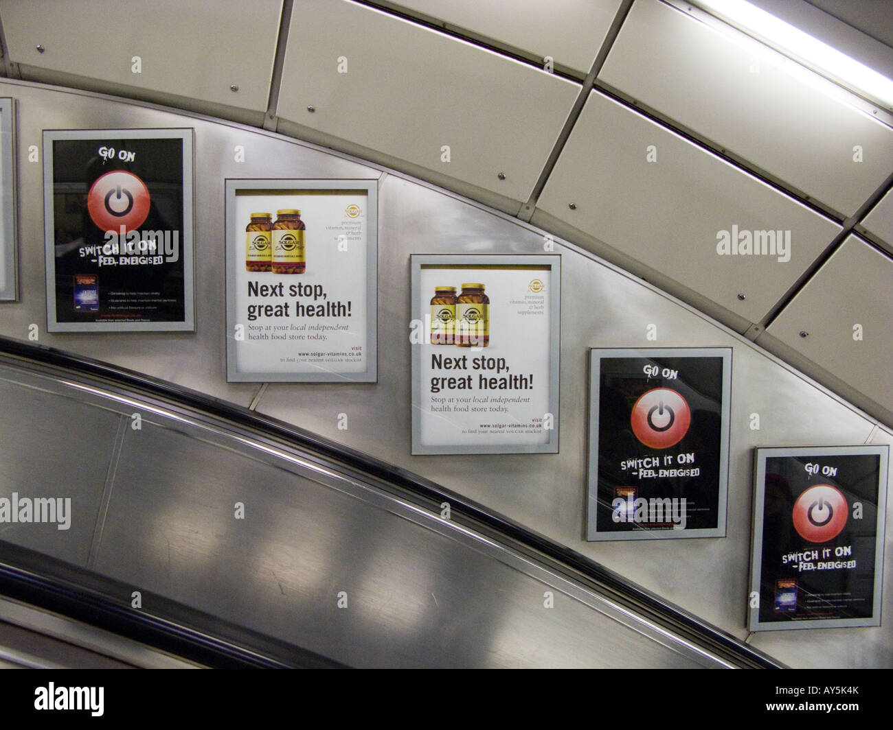 advertisements London underground - Stock Image