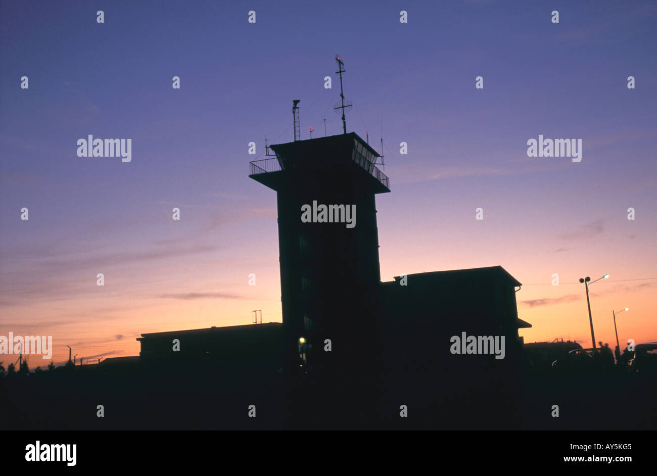 Aerial Transport Control Tower Fr Aerial Transport Control Tower no model or property release - Stock Image
