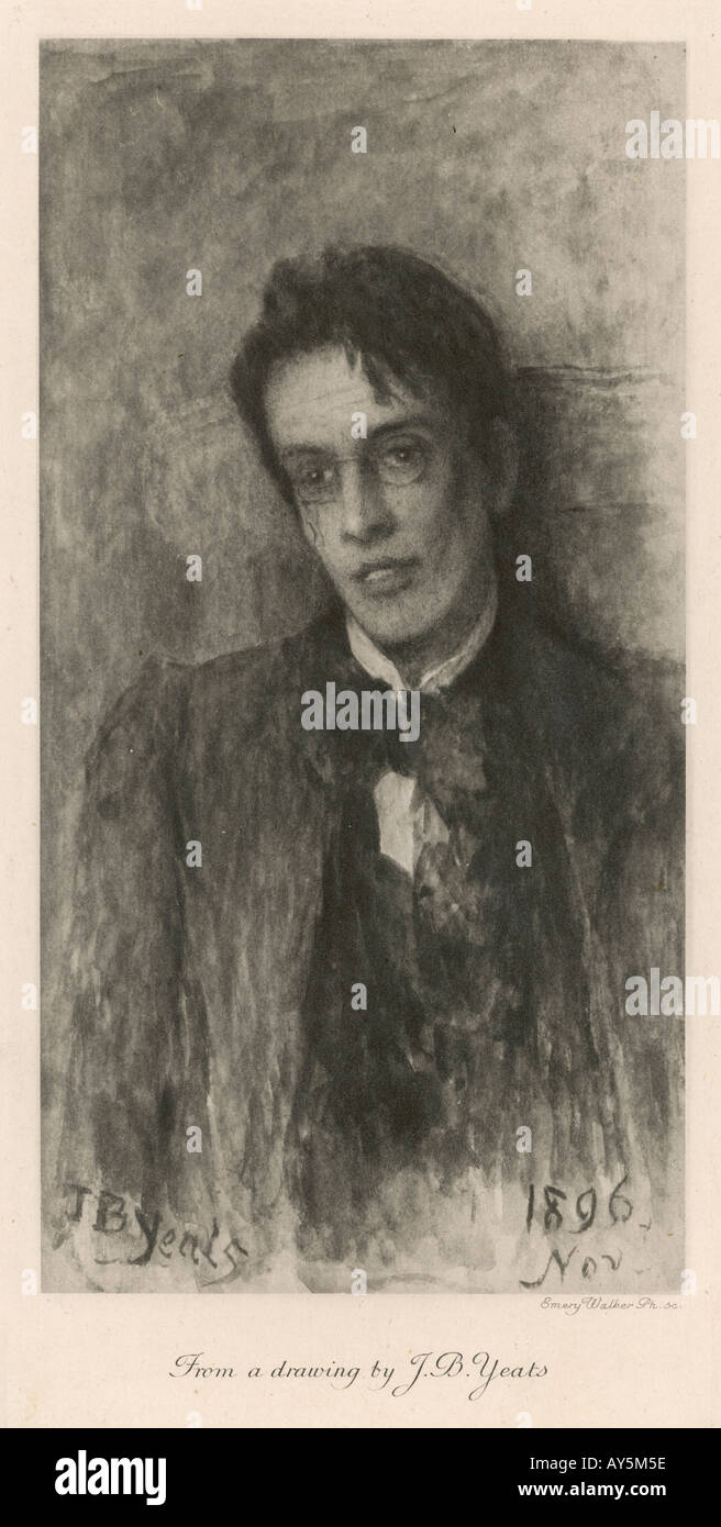 W B Yeats Etching - Stock Image