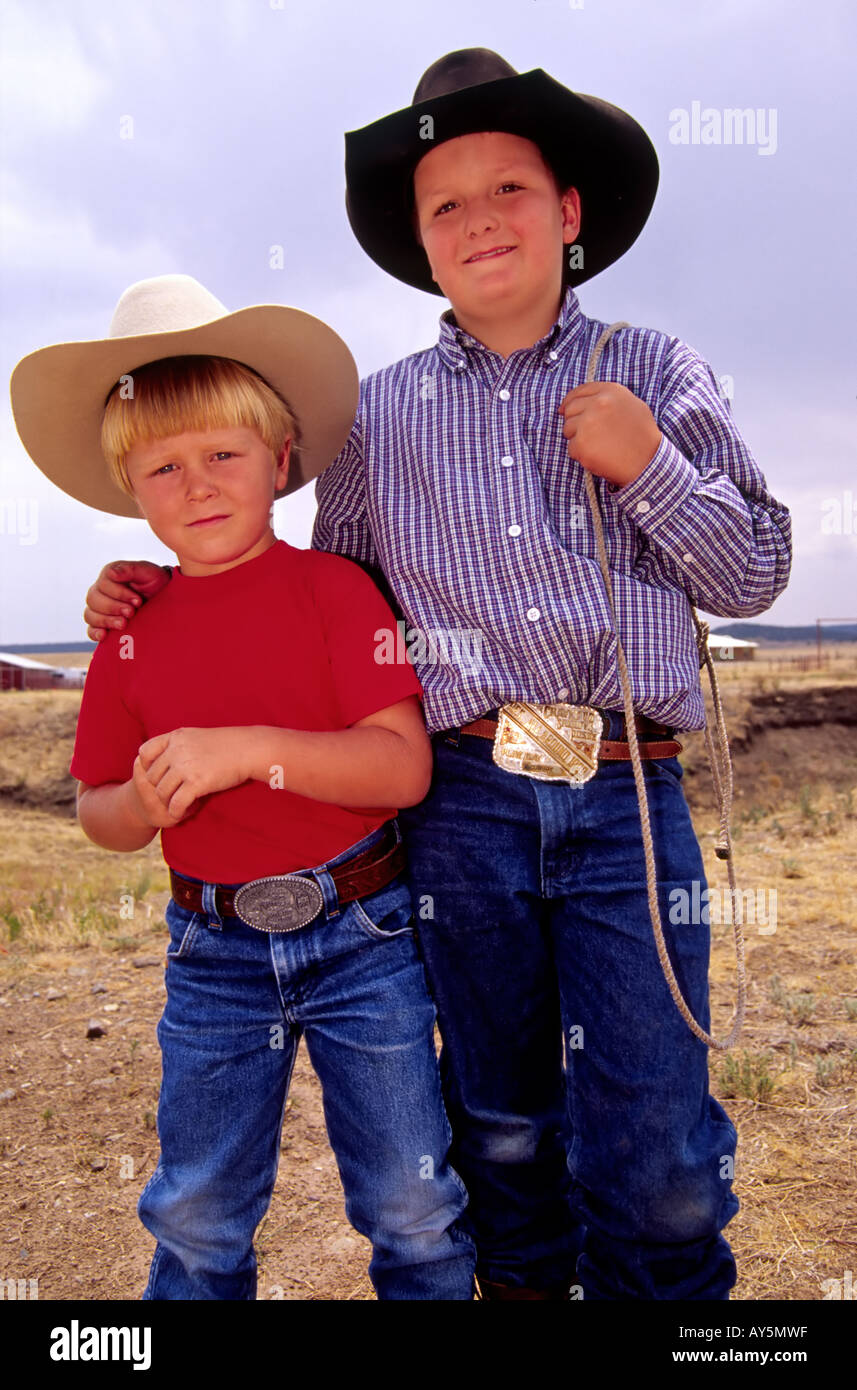 MR 607 608 Kody Gregory and Kullen Wooton are two tough 4-H hombres in Capitan, New Mexico. - Stock Image