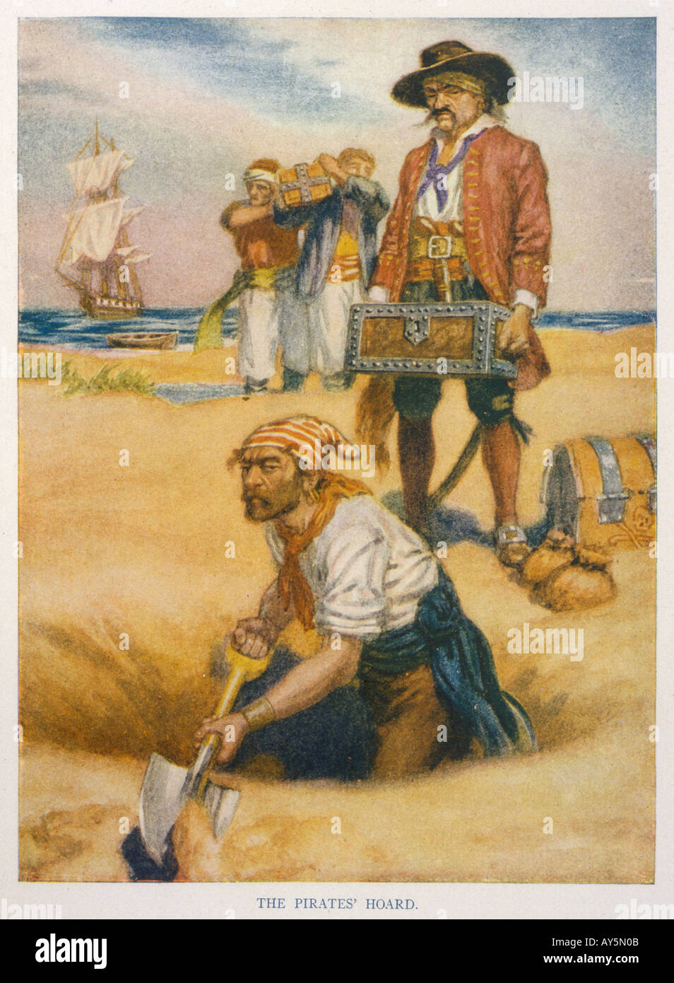 Pirates Bury Treasure - Stock Image