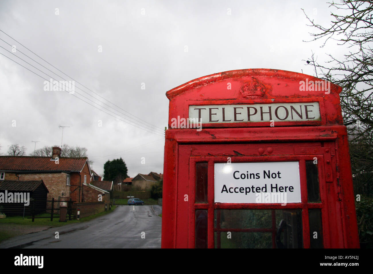A telephone box that does not accept coins Stock Photo