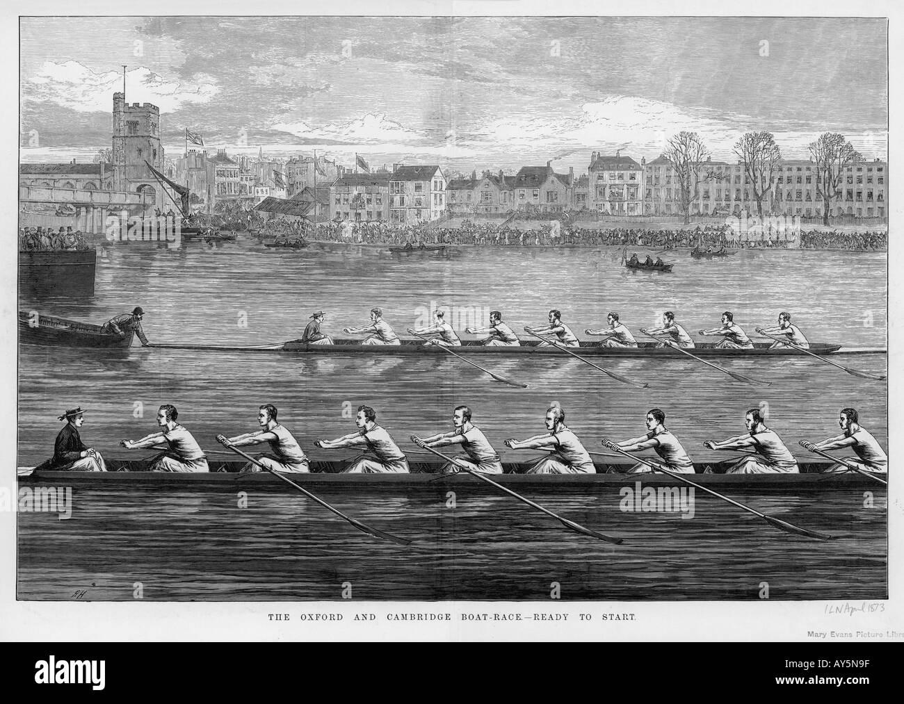 Oxford Vs Cambridge 1873 - Stock Image