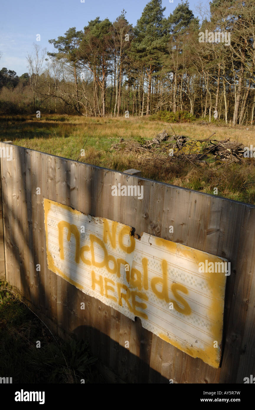 McDonalds Protest sign on greenfield site near Bovey Tracey Newton Abbot Devon England - Stock Image