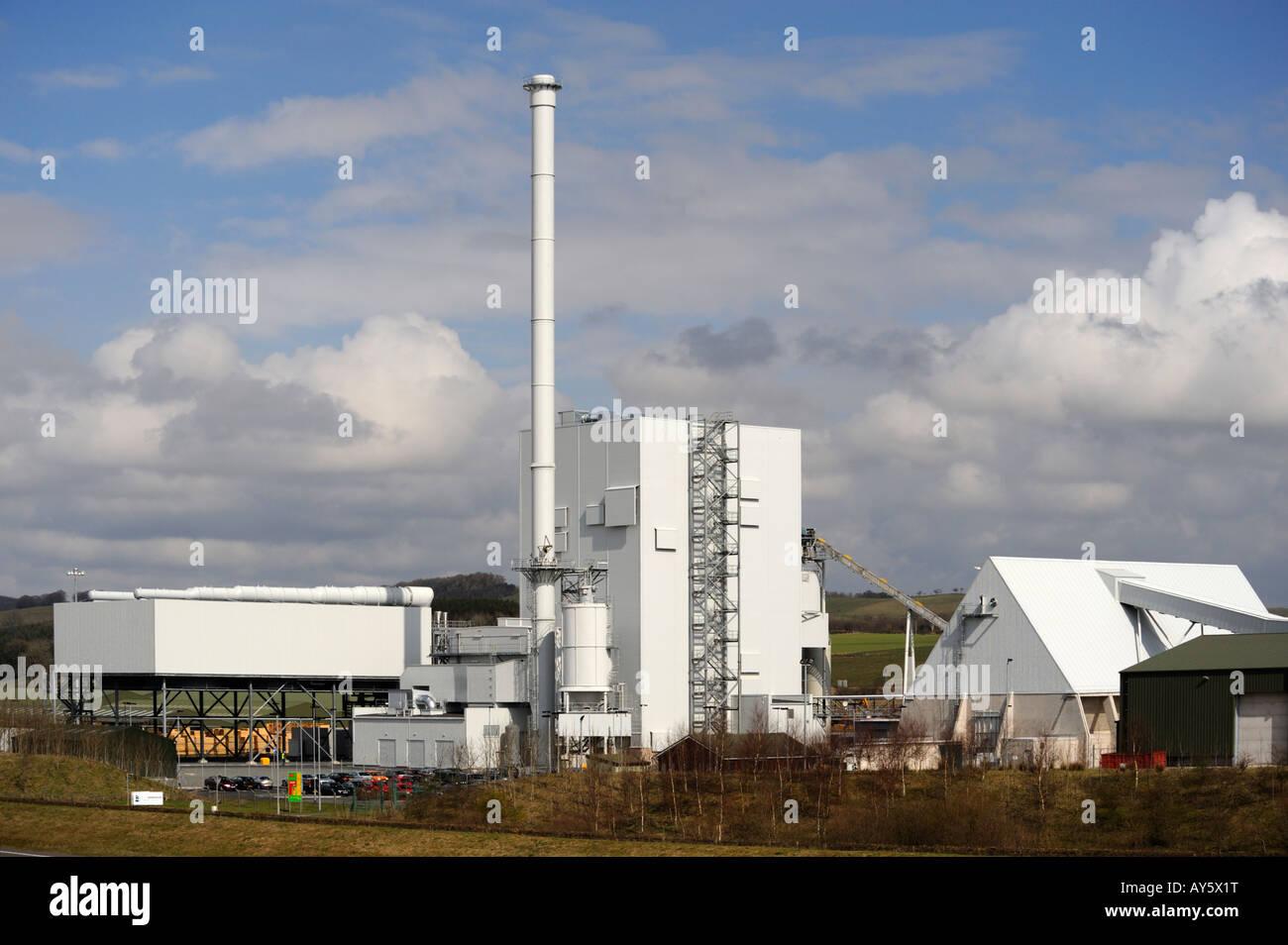 Steven's Croft Power Station , 44 mw . , wood burning power station , Lockerbie , Dumfries and Galloway , Scotland. - Stock Image