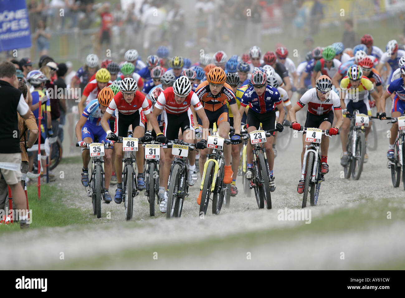 The start of a cross country mountain bike race - Stock Image
