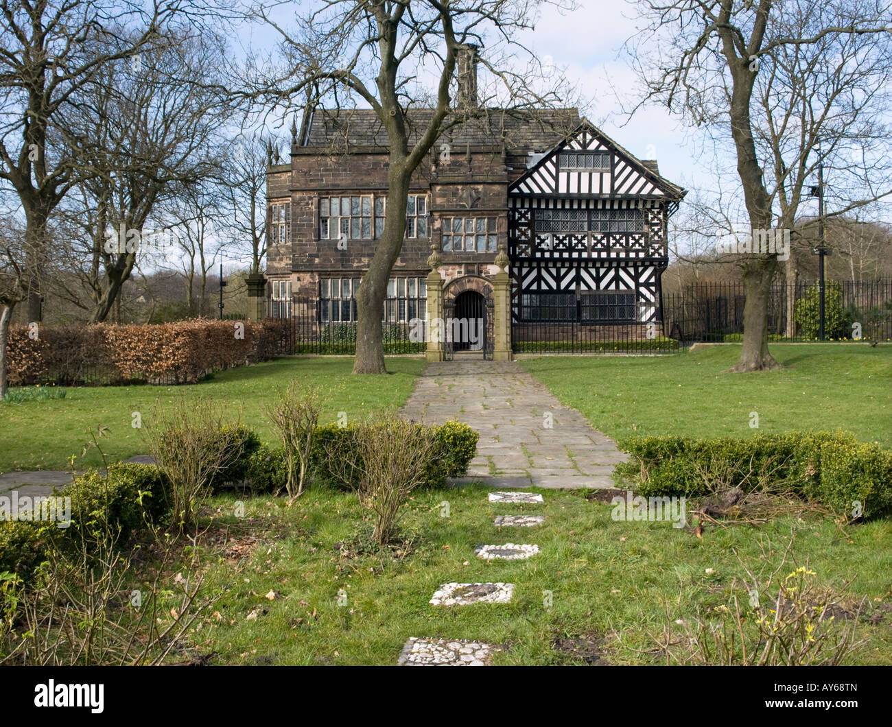 Hall i'th Wood, Bolton, Lancashire; the front and garden - Stock Image