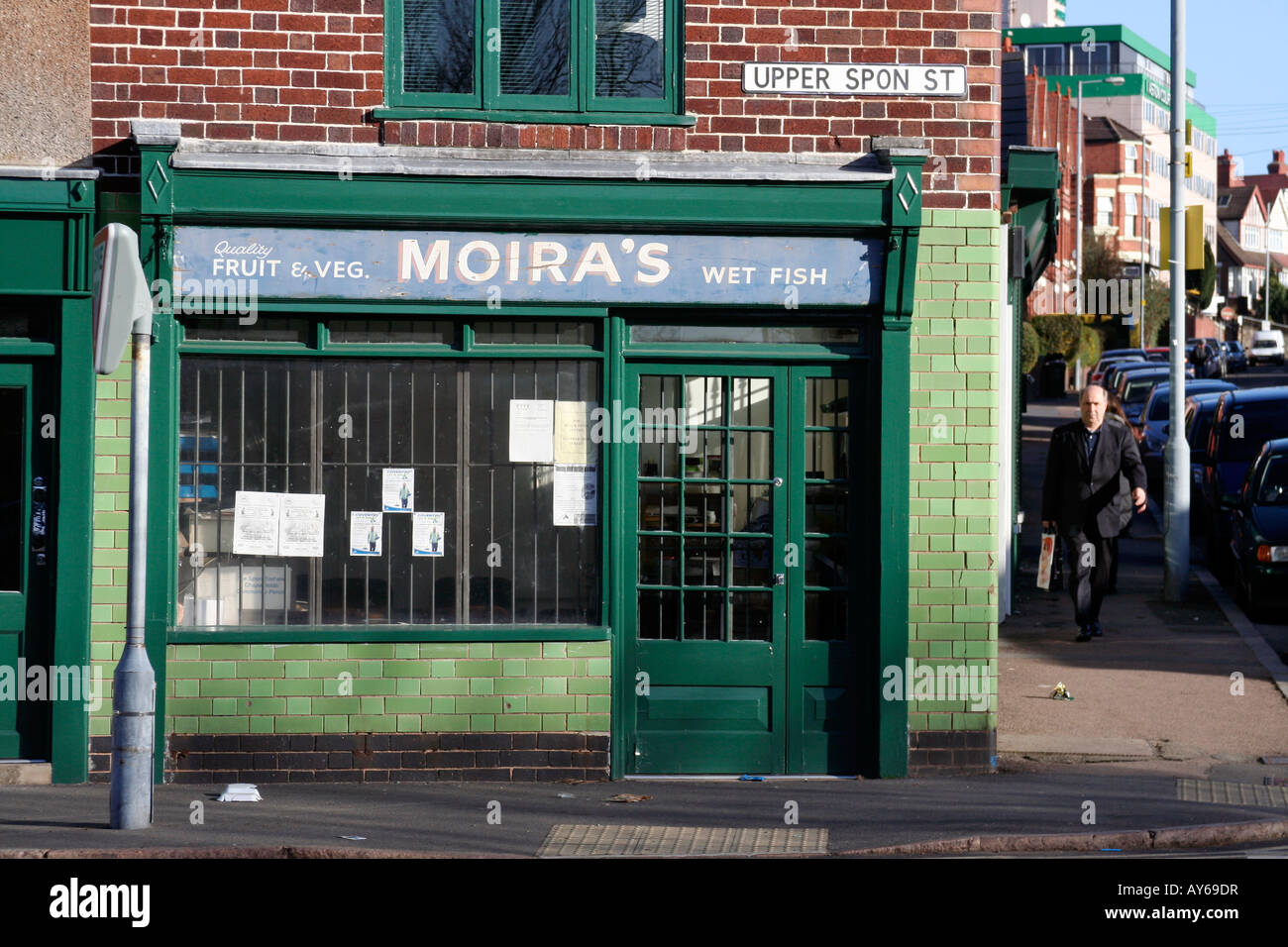 Former Old Moira's 'wet fish' and vegetable shop in Upper Spon Street in Coventry, England - Stock Image