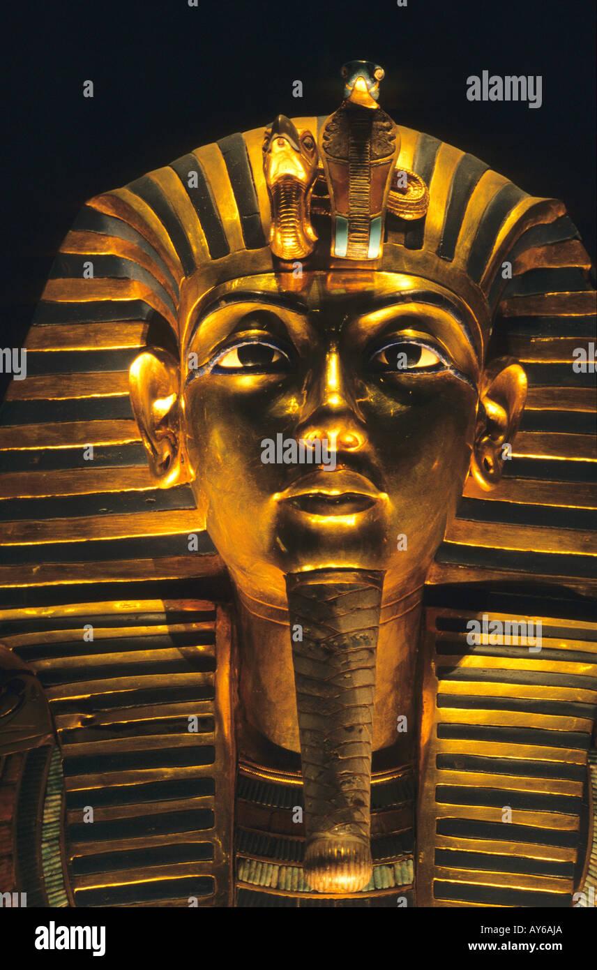 Egypte Le Caire Musée Egyptien Trésor de Toutankhamon Le masque d or - Stock Image