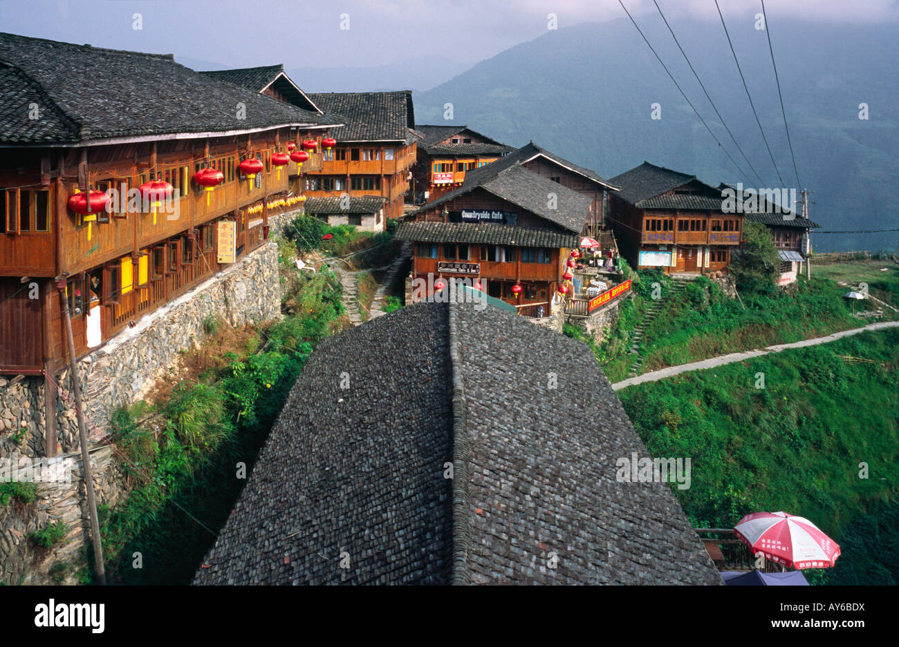 View of the Yao minority village of Ping'an in the Chinese province of Guangxi. Stock Photo