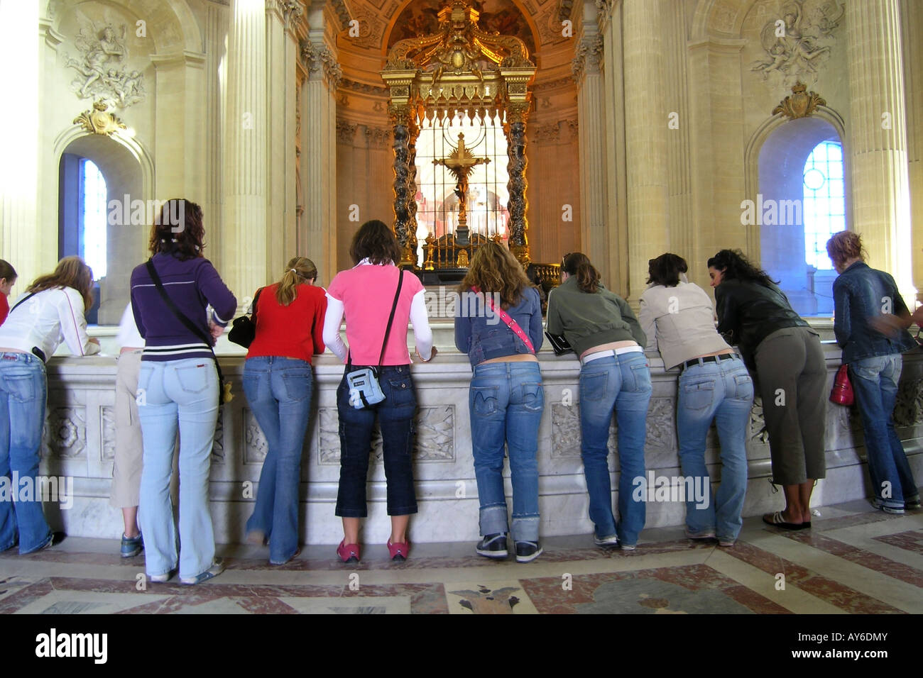 teenagers visiting Napoleon's tomb Paris France - Stock Image