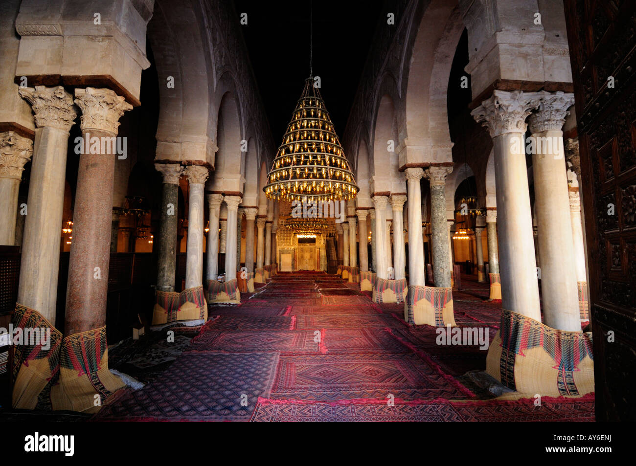 Prayer Hall of the Great Mosque, Kairouan, Tunisia - Stock Image