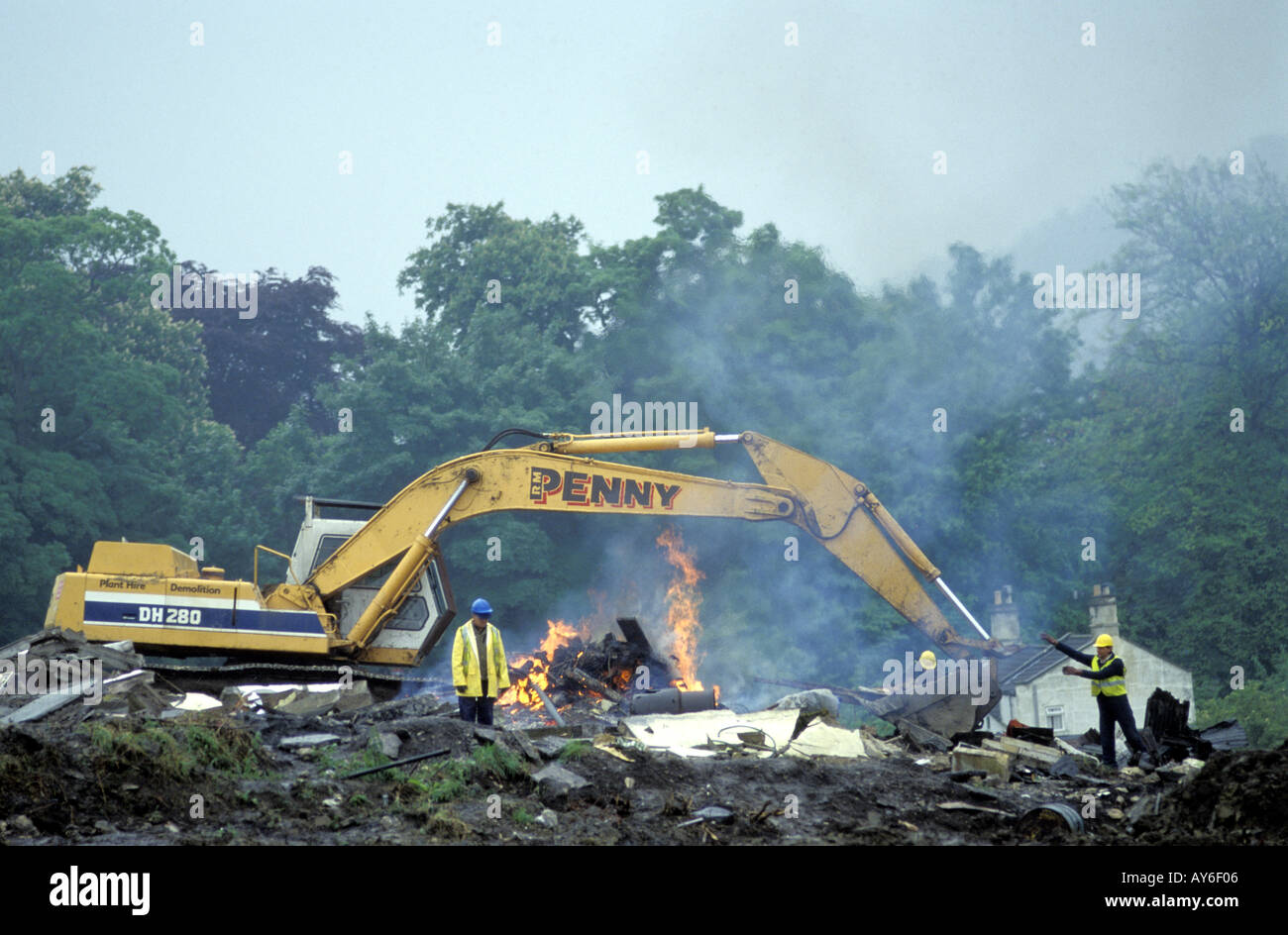 A digger clears the site on the building of the Batheaston bypass Bath Solsbury Hill Avon Stock Photo