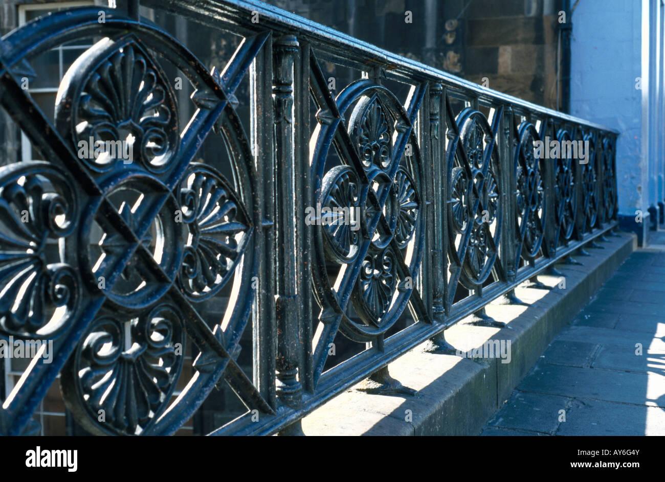 Cast-iron railings in Edinburgh, Scotland - Stock Image