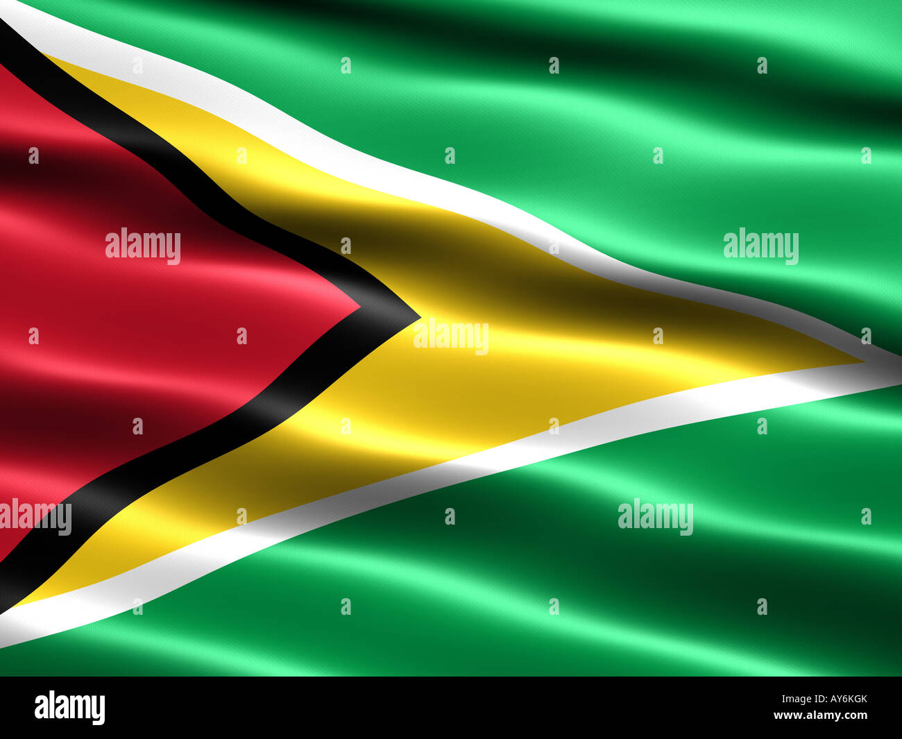 Flag of Guyana computer generated illustration with silky appearance and waves - Stock Image