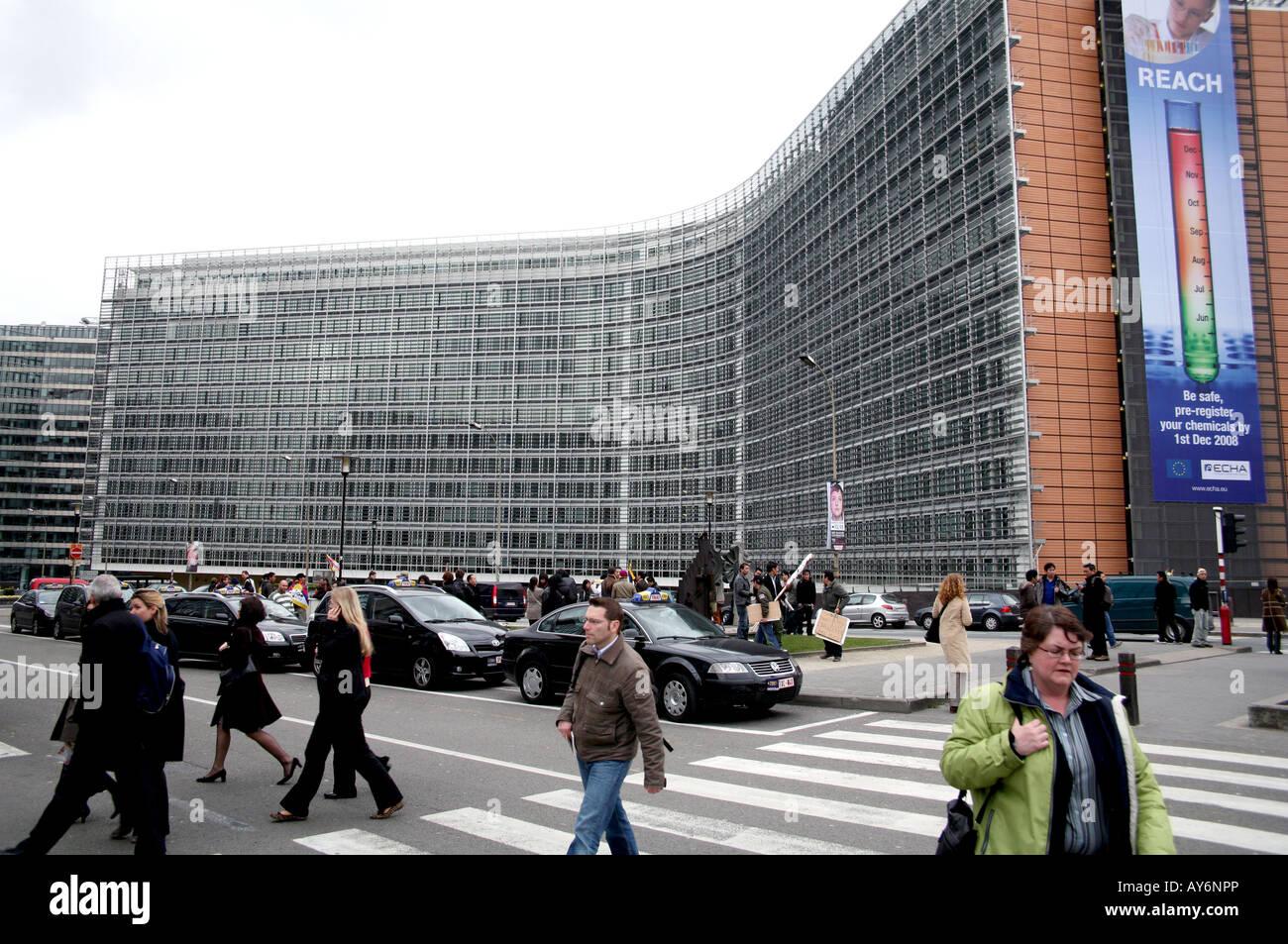 Berlaymont building of the EC in Brussels - Stock Image
