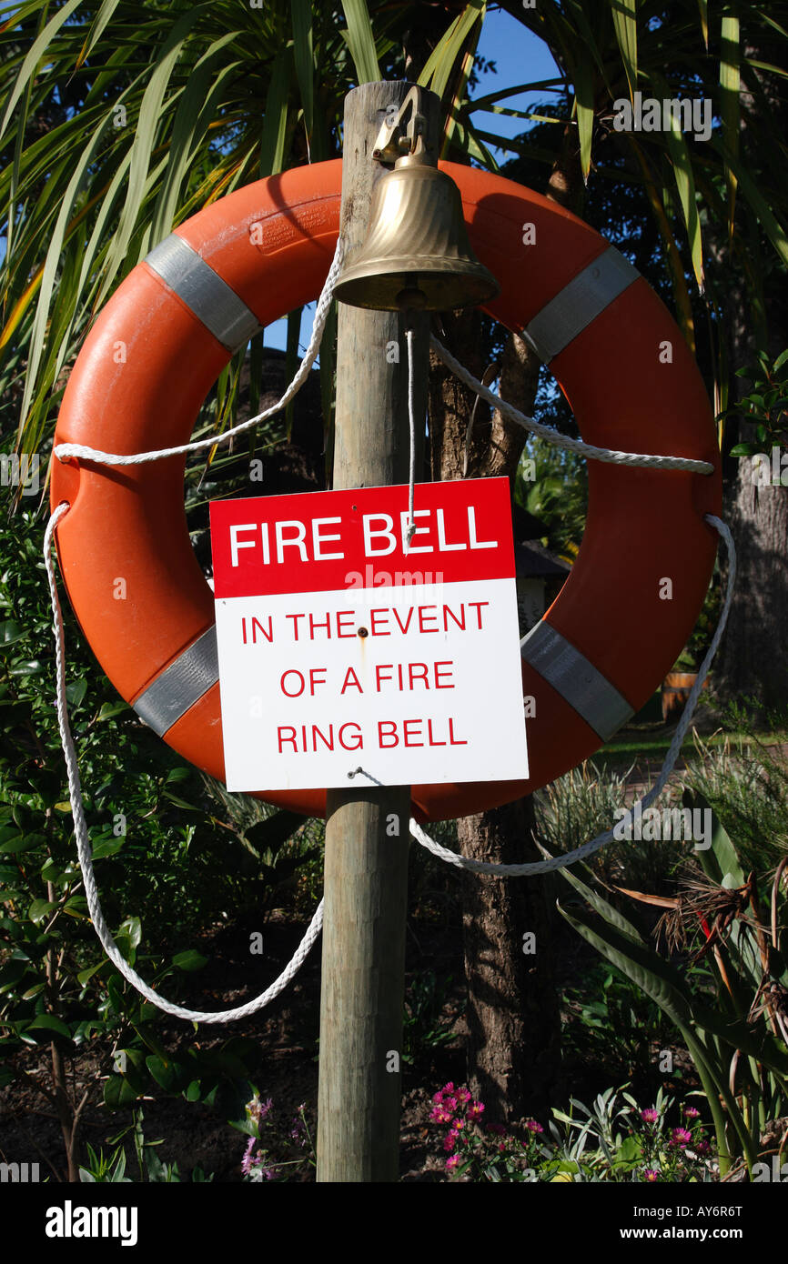 fire bell with a life buoy knysna garden route western cape province south africa - Stock Image