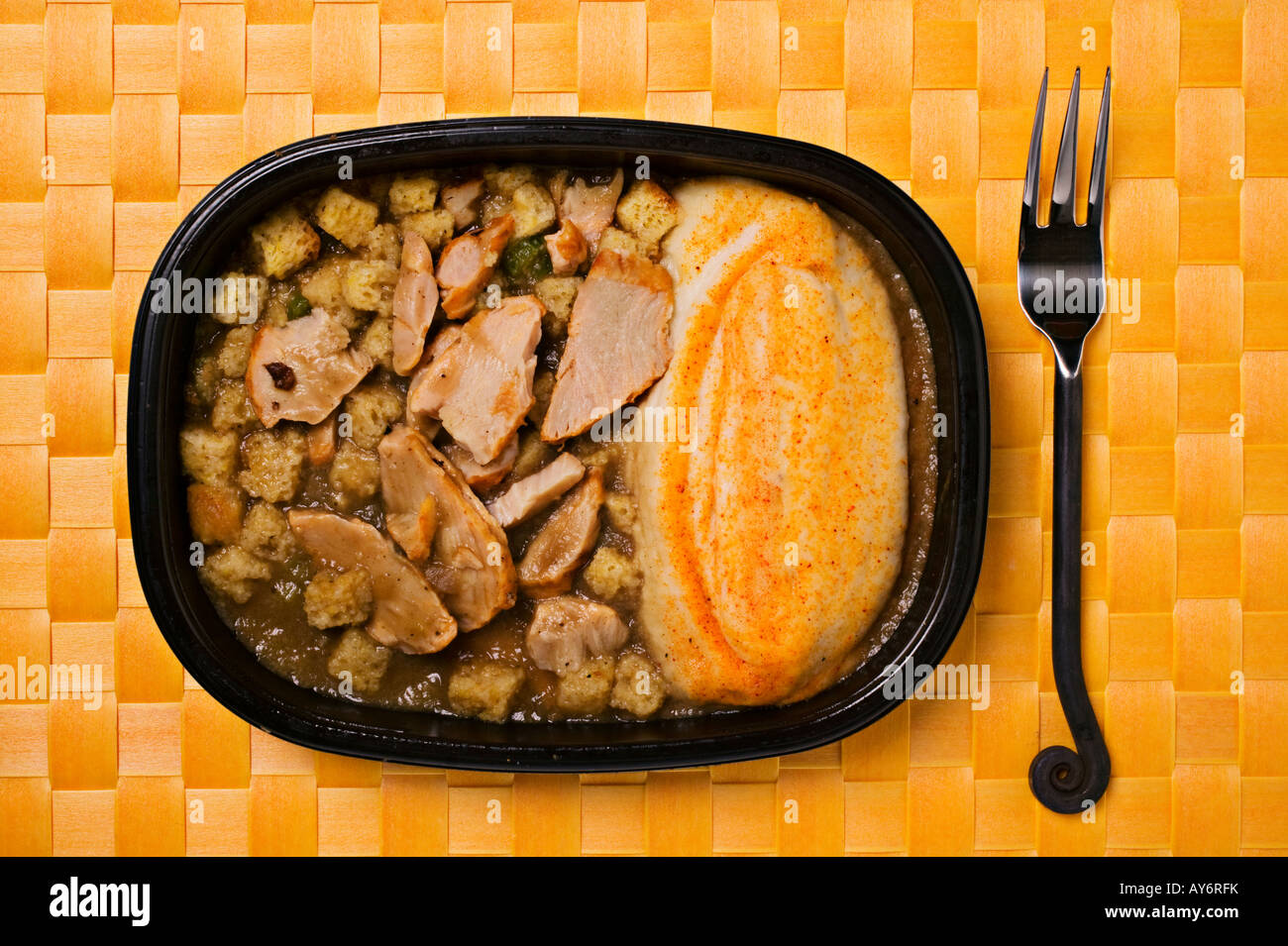 TV dinner turkey and potatoes - Stock Image