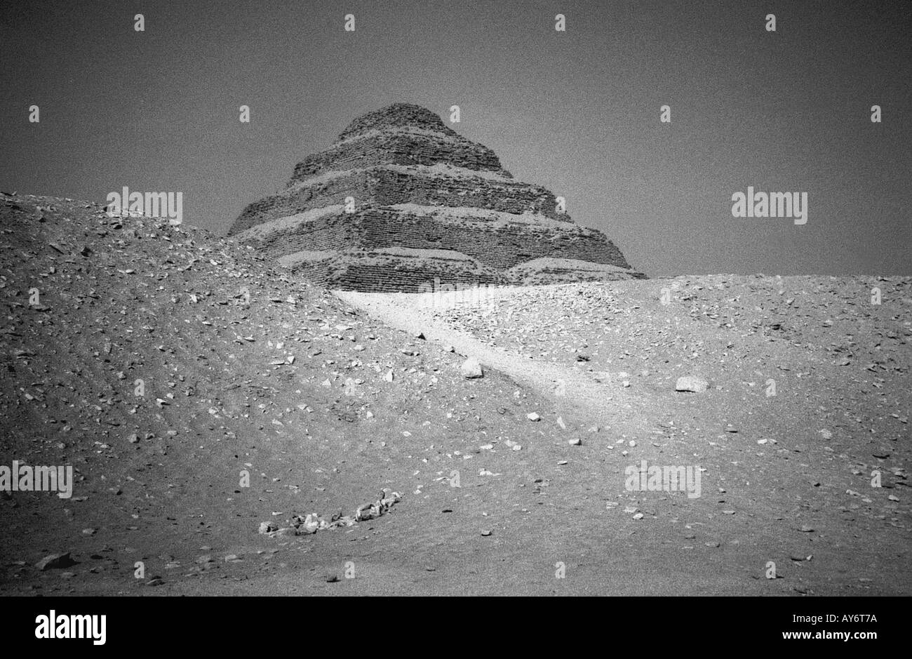 Djoser's step Pyramid of Zoser Sakkara Saqqara Saqqarah Cairo Arab Republic of Egypt Egyptian North Africa Middle East - Stock Image