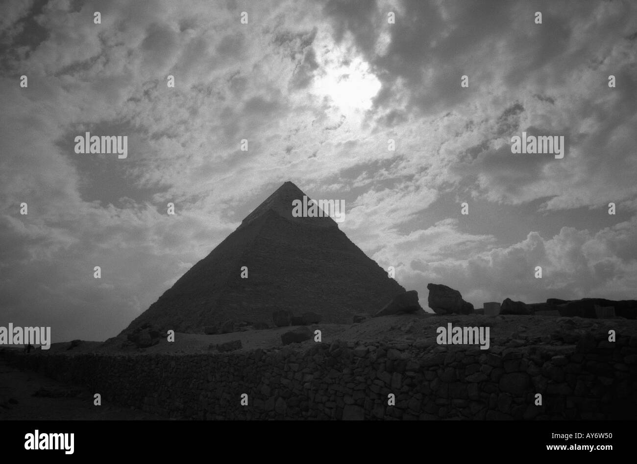 Egyptian royal mortuary & sacred structures Giza Pyramids Necropolis Cairo Arab Republic of Egypt North Africa Middle East - Stock Image