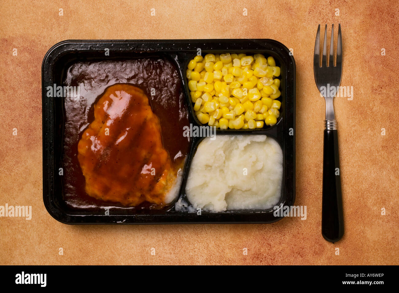 TV dinner with fork - Stock Image