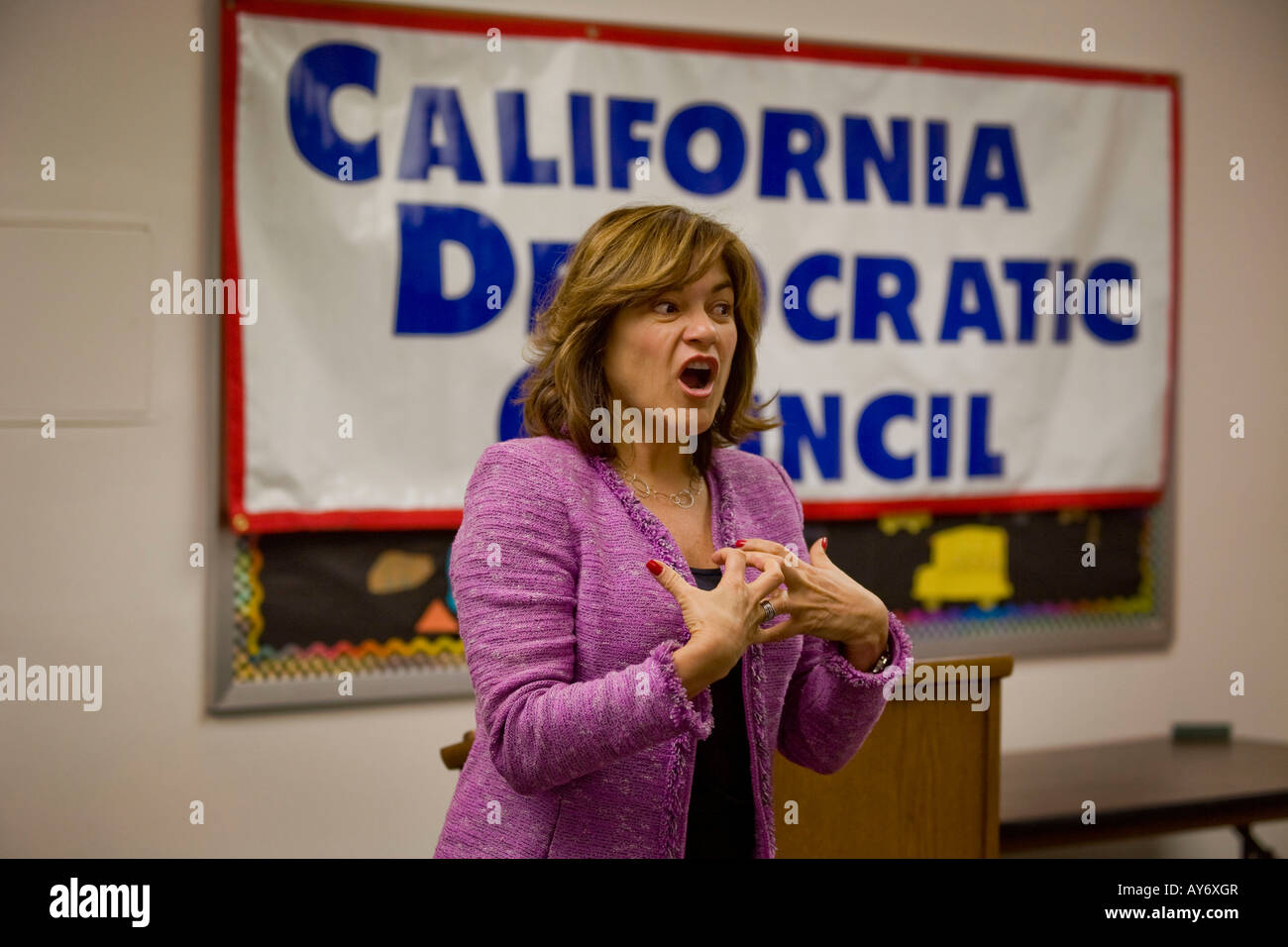 Democrat US Congresswoman Loretta Sanchez speaks at a California political meeting Note banner in background - Stock Image