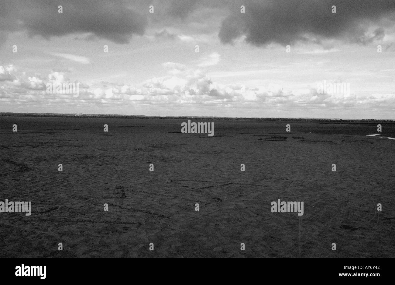 View of Mont Mount Saint Michel Bay at low Tides Normandy English Channel La Manche North Western France Europe - Stock Image