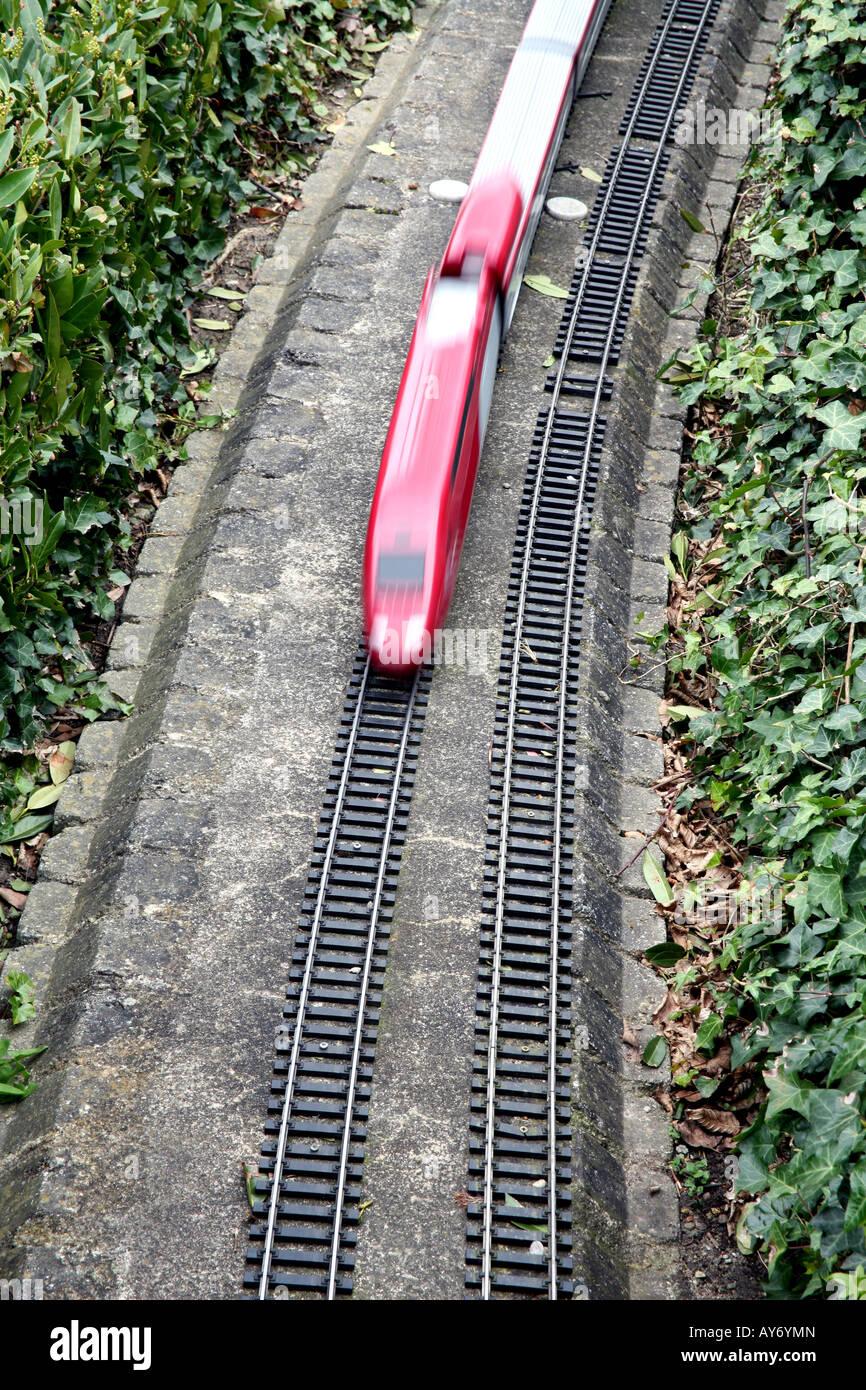 Model train at Mini-Europe model village in Brussels - Stock Image