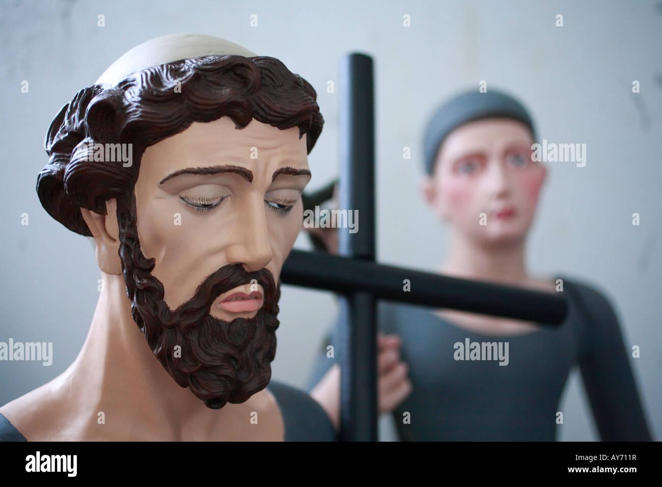 Closeup of the face of a catholic saint - Stock Image
