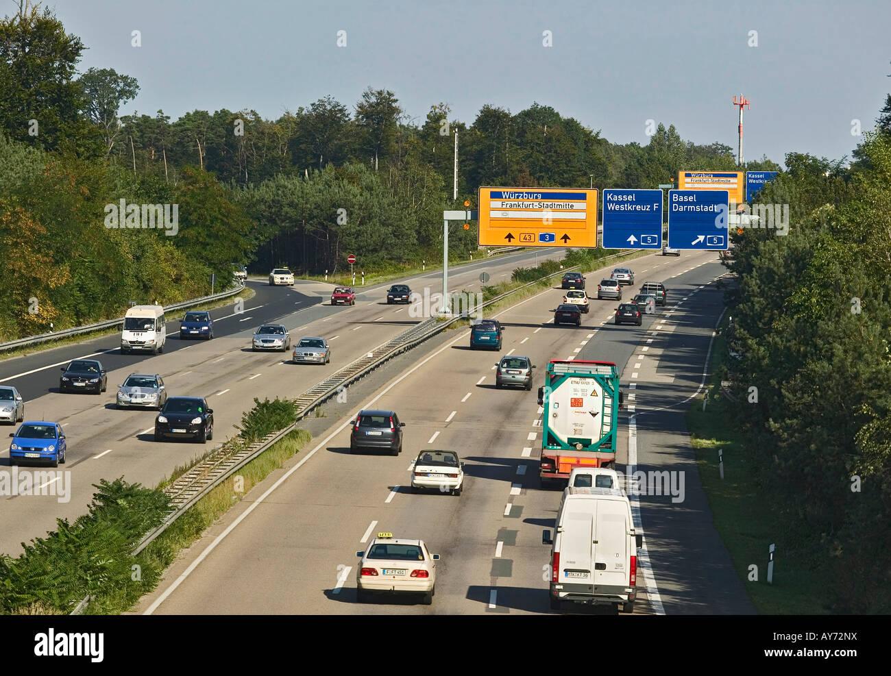 Autobahn near Frankfurt Germany Europe - Stock Image