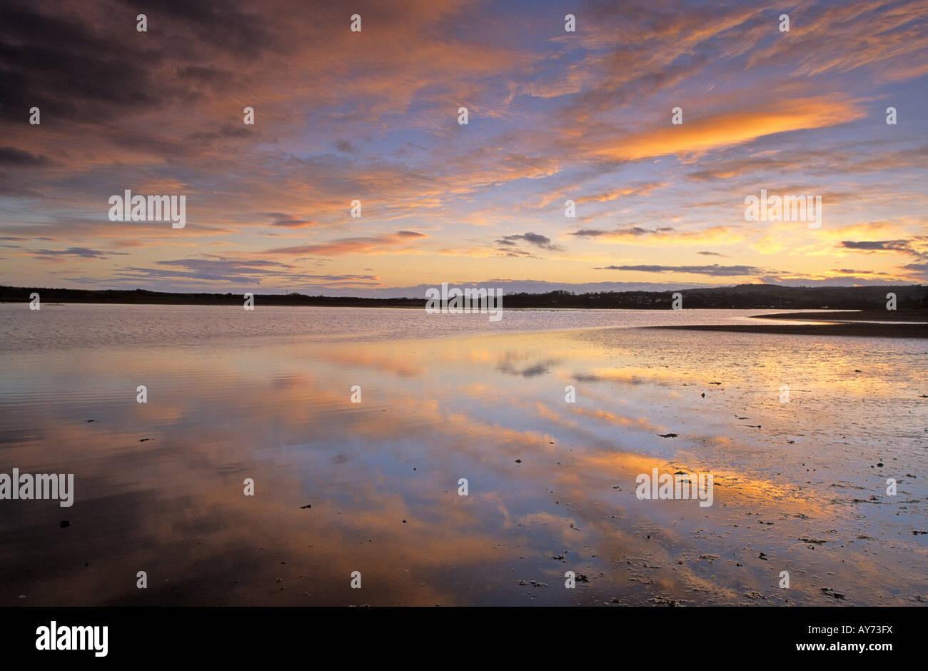 Sunrise over Exe Estuary, Dawlish Warren, Dawlish, Devon, England, UK - Stock Image