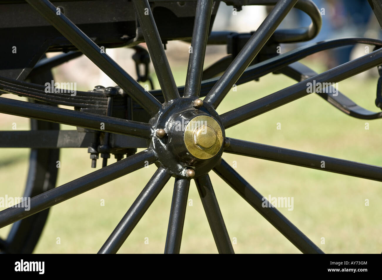 Polished sulky wheel - Stock Image