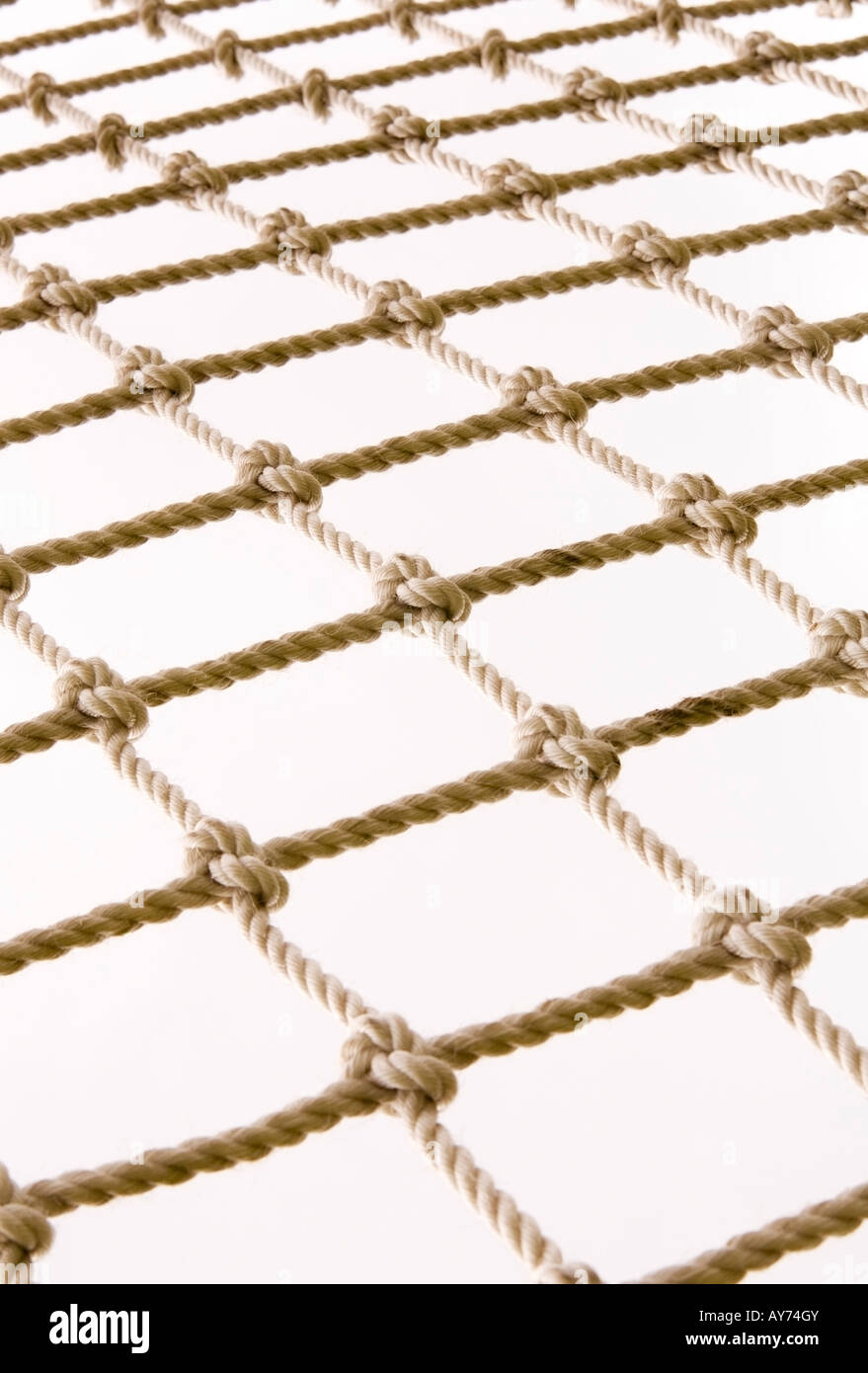 Knotted rope netting - Stock Image