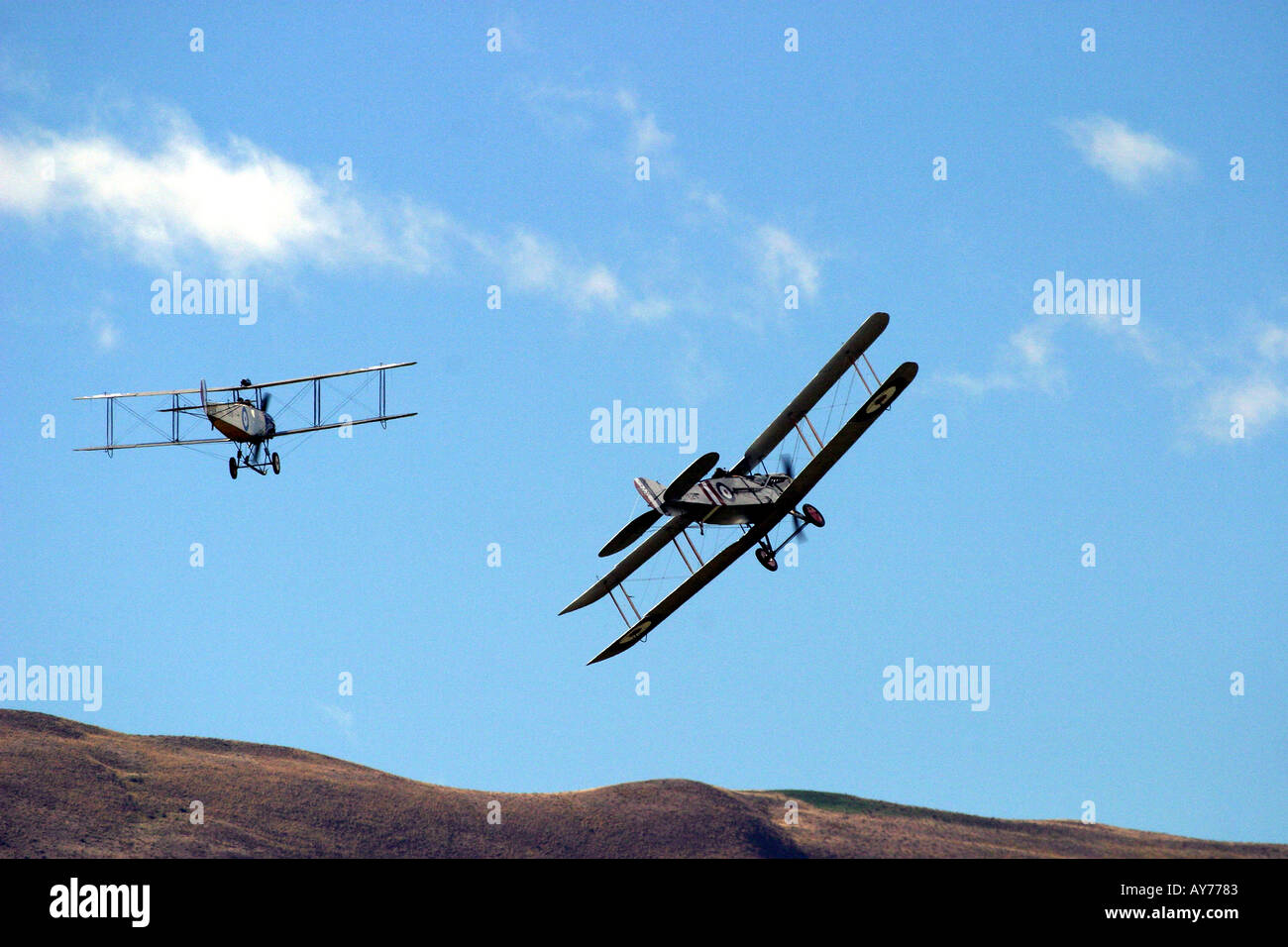 Avro 504k WWI bomber and Bristol F2 b fighter right - Stock Image