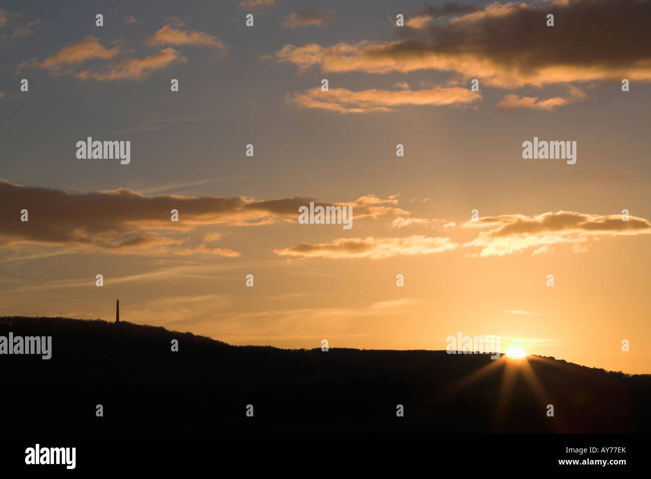 Wellington Monument at sunset, Blackdown Hills, Somerset, England, UK - Stock Image