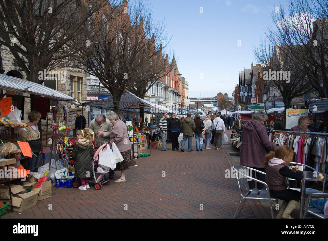 Colwyn Bay North Wales UK April Looking down Station Road busy with shoppers at the weekly Saturday market - Stock Image