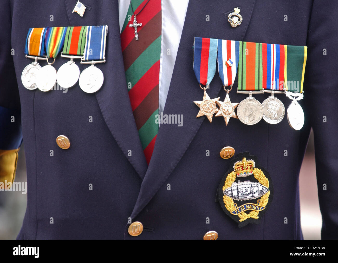 War medals on a veterans chest - Stock Image